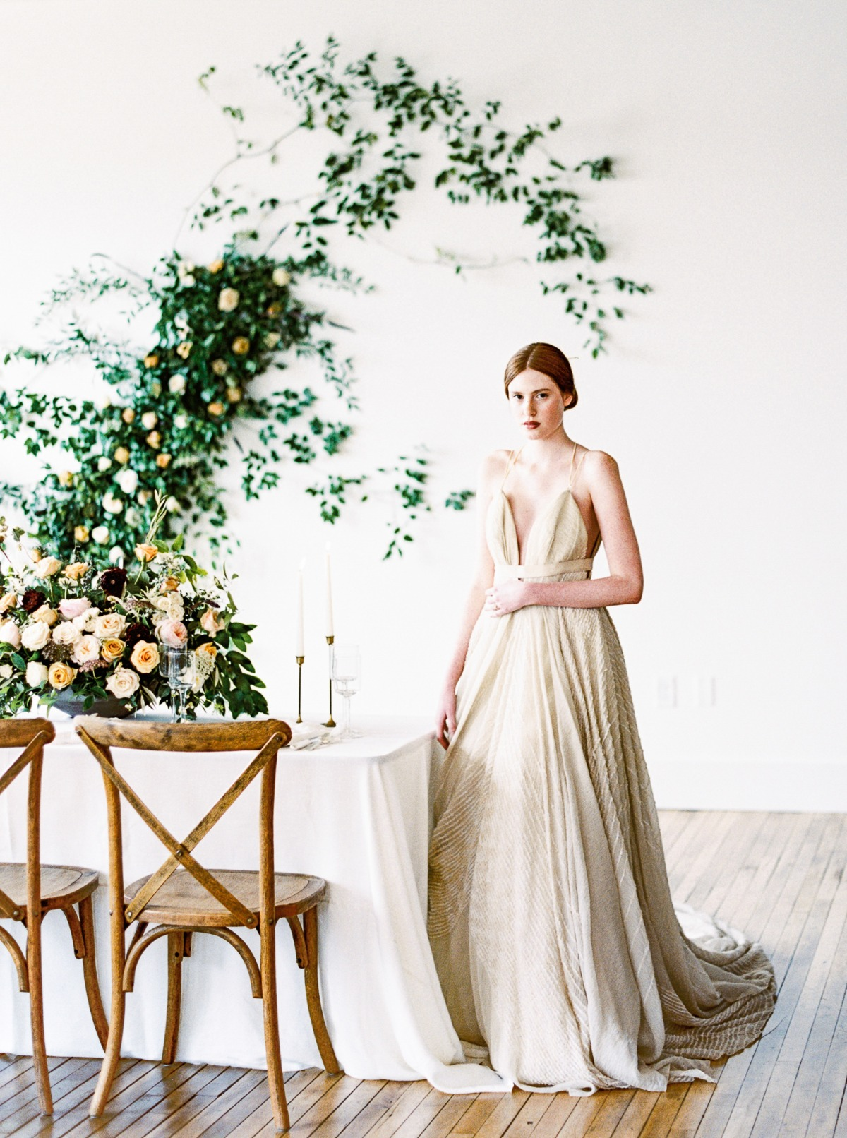 a bride and her minimalist wedding reception