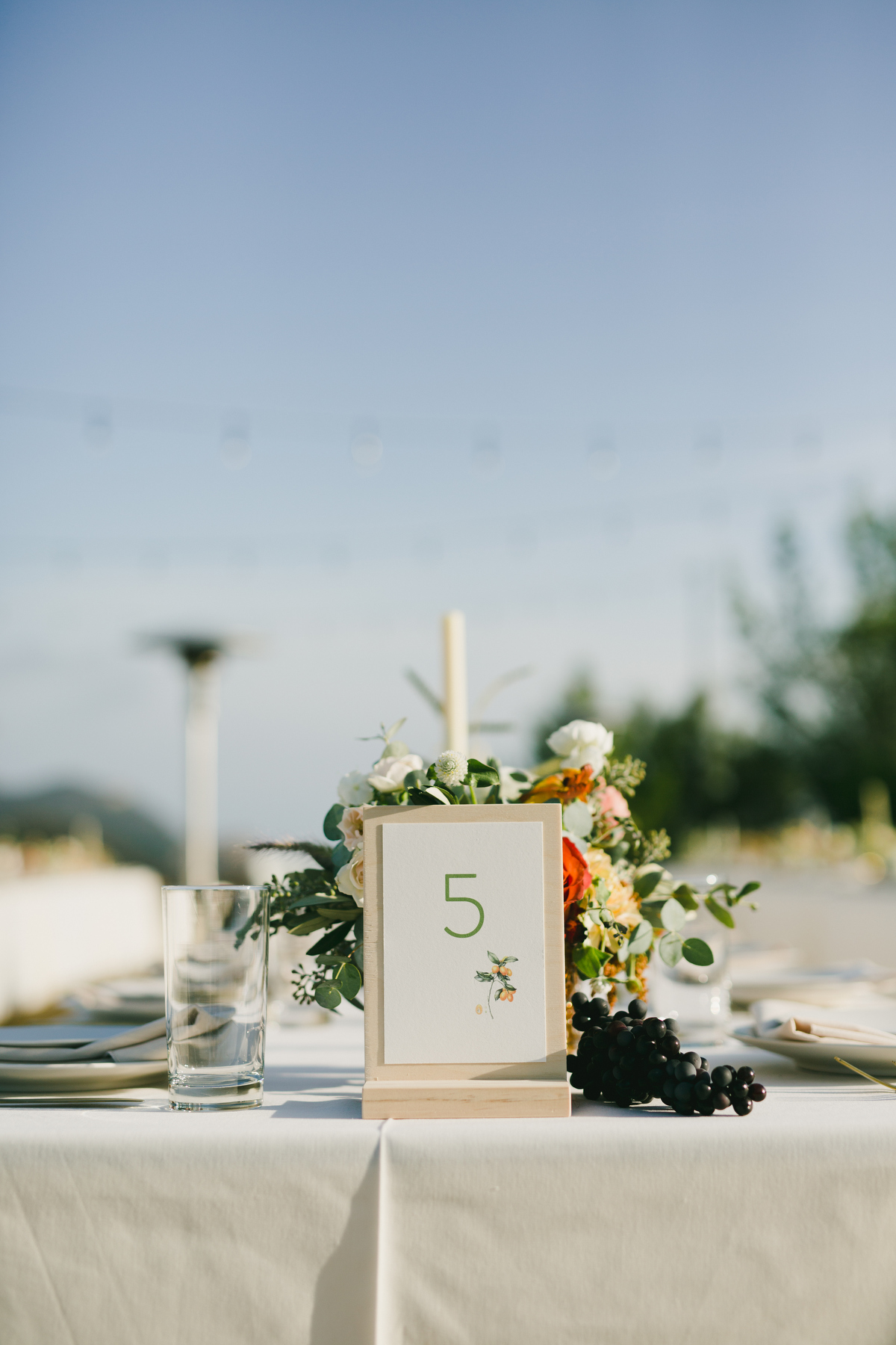 Table number display on wood