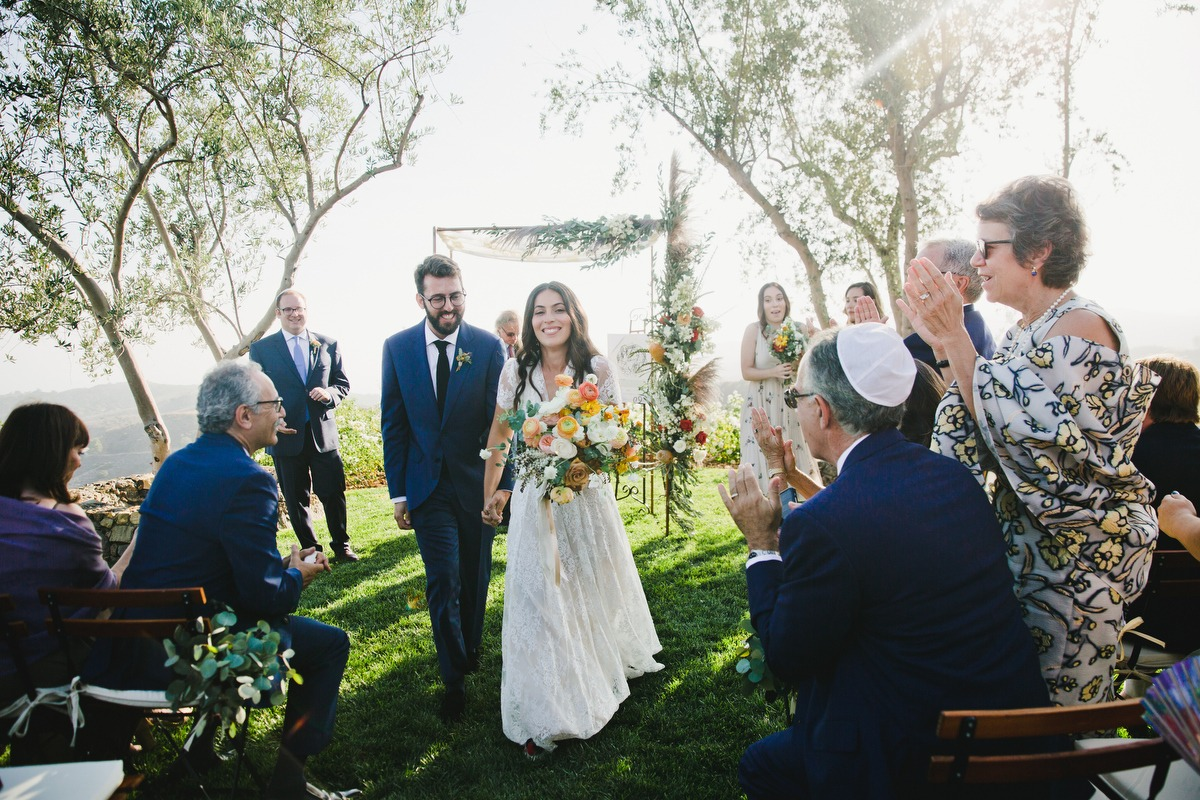 Just married outdoor wedding