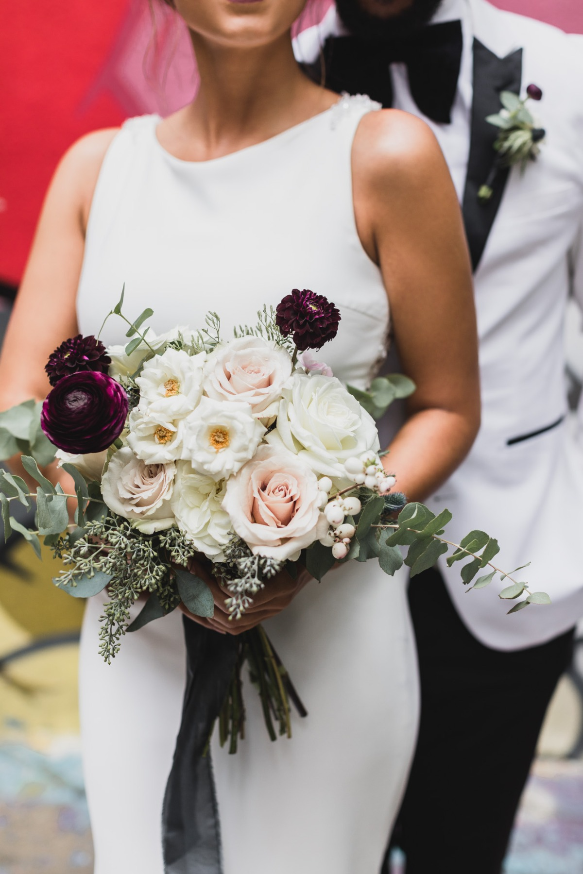 white and burgundy wedding bouquet