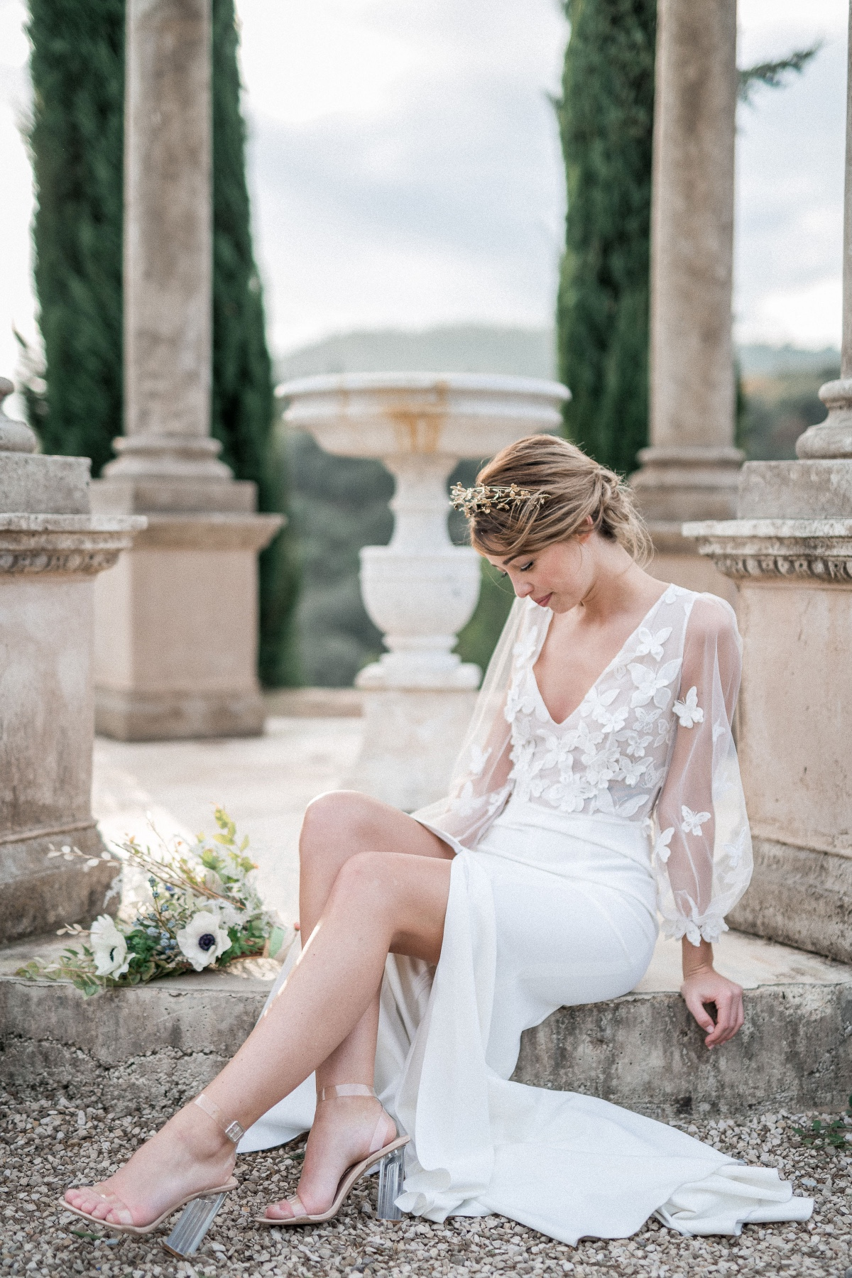 Elisa Ness wedding dress with butterfly apliques