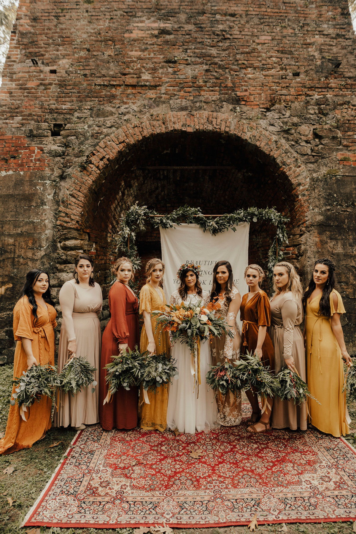 mismatched fall boho bridal party
