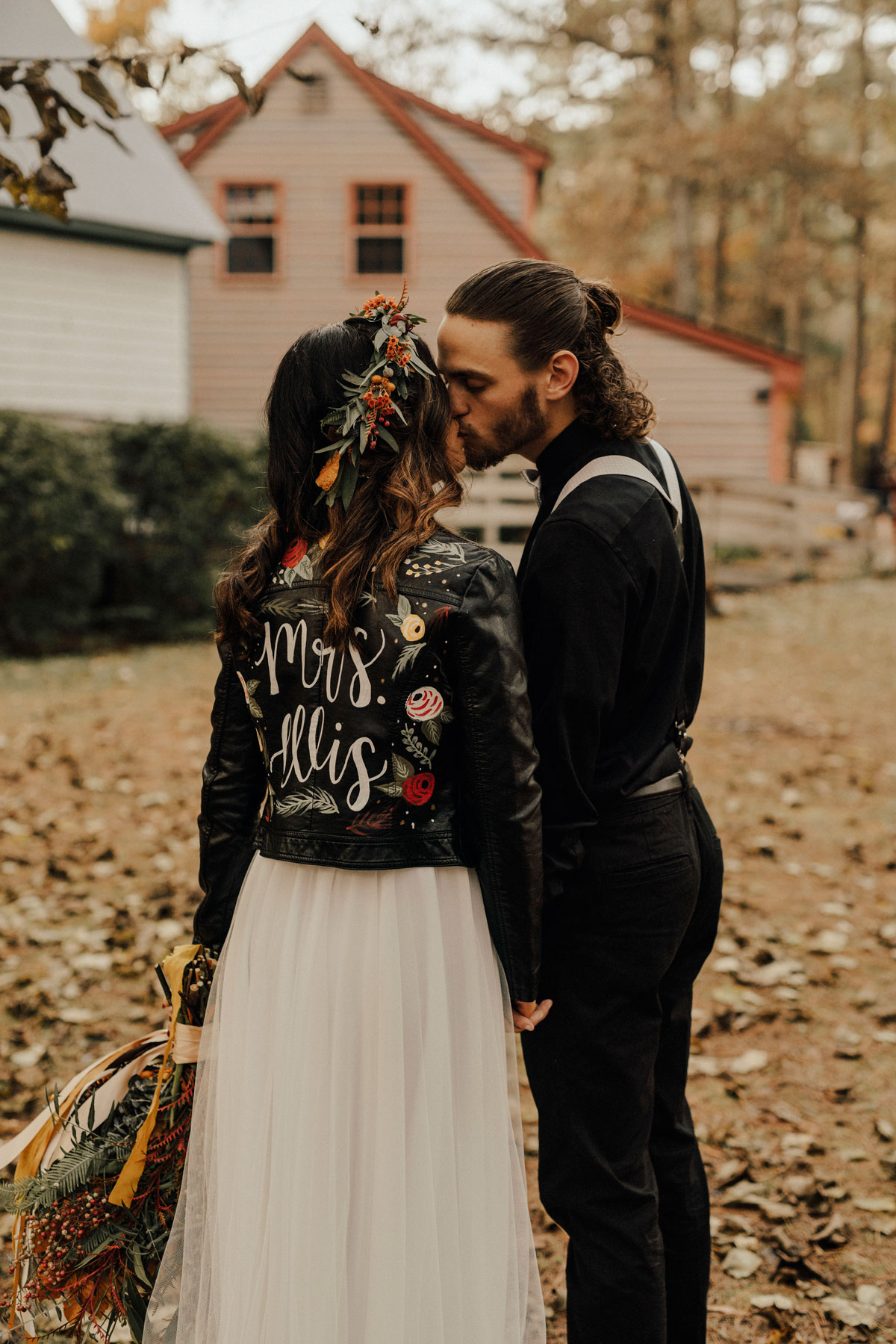 handpainted wedding leather jacket
