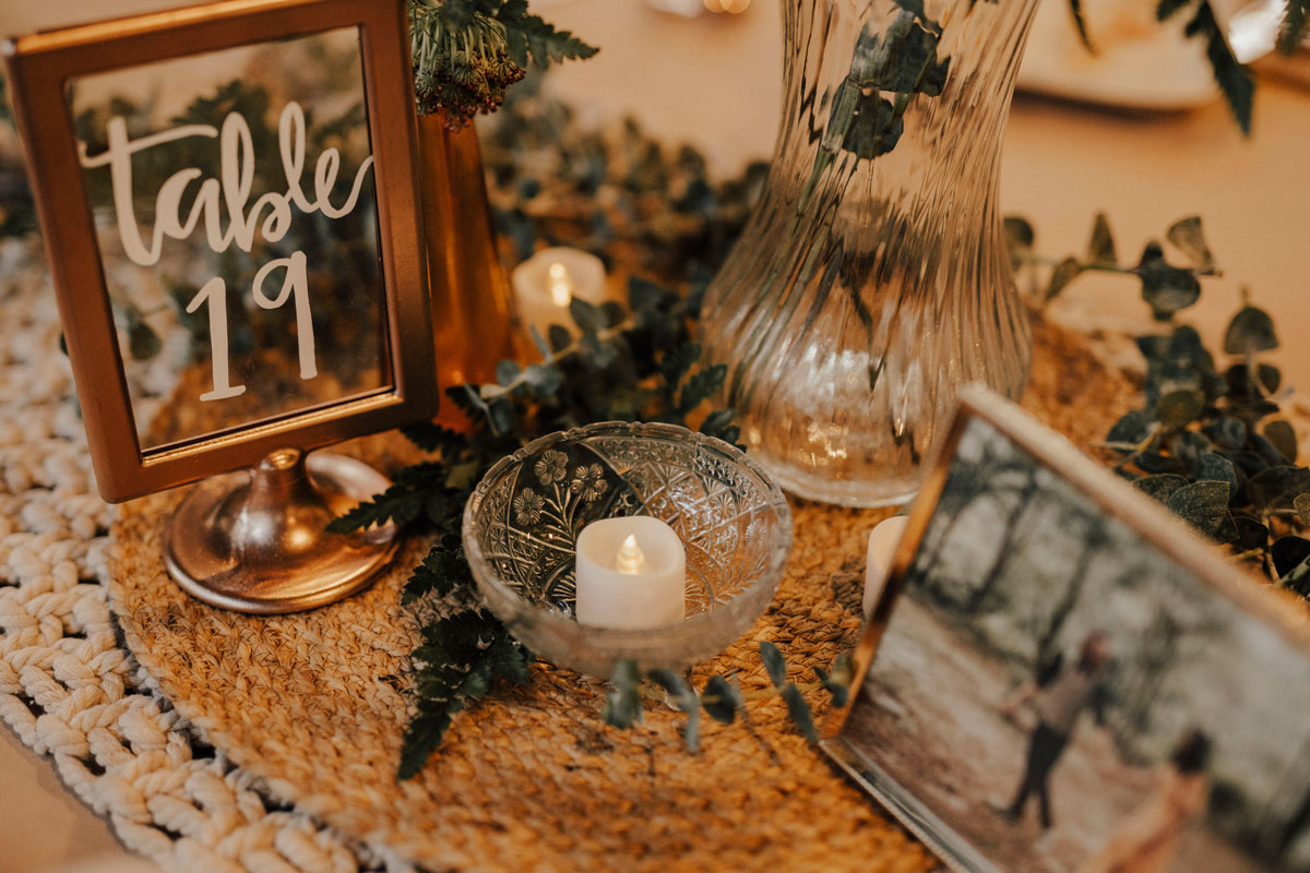 boho inspired centerpiece idea with framed photo