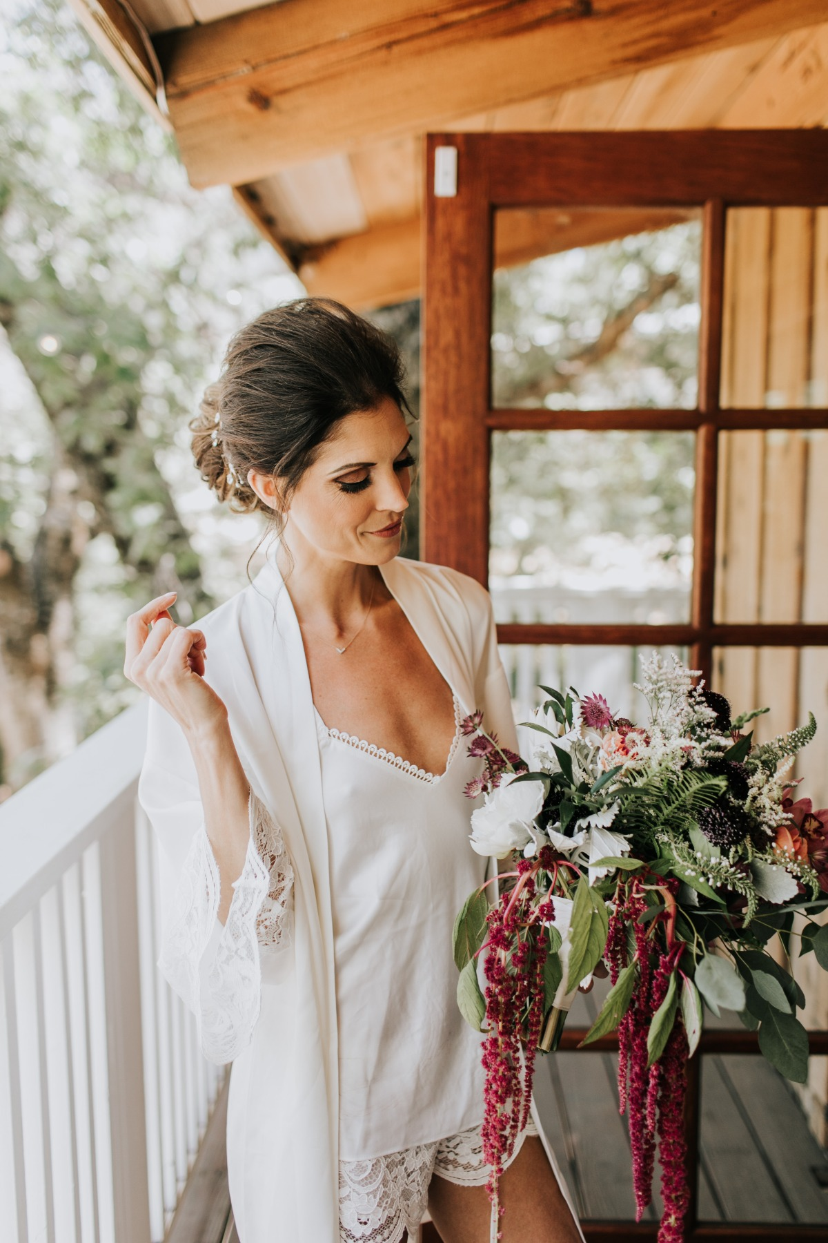 Bride getting ready robe