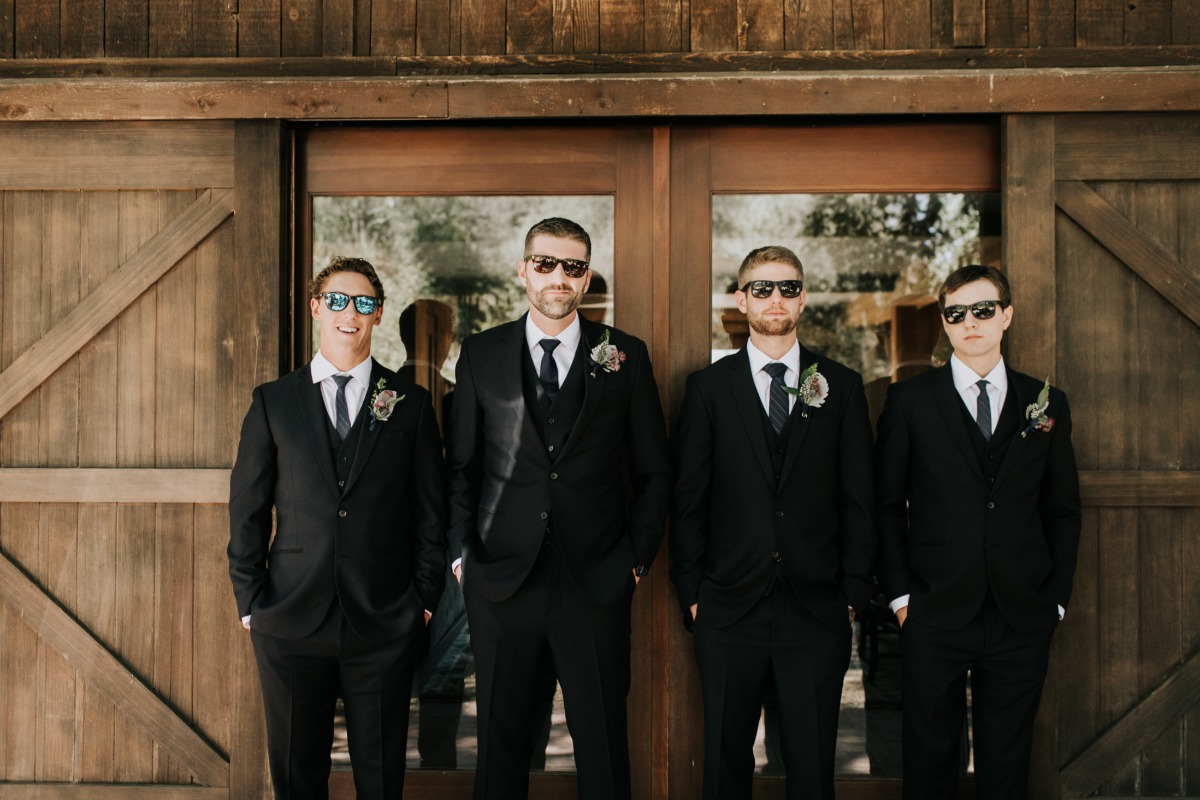 Groomsmen black suits