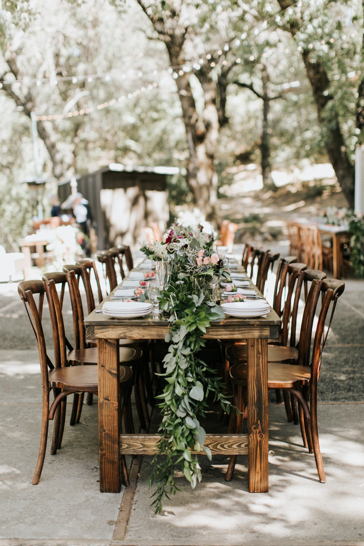 Rustic farm table reception