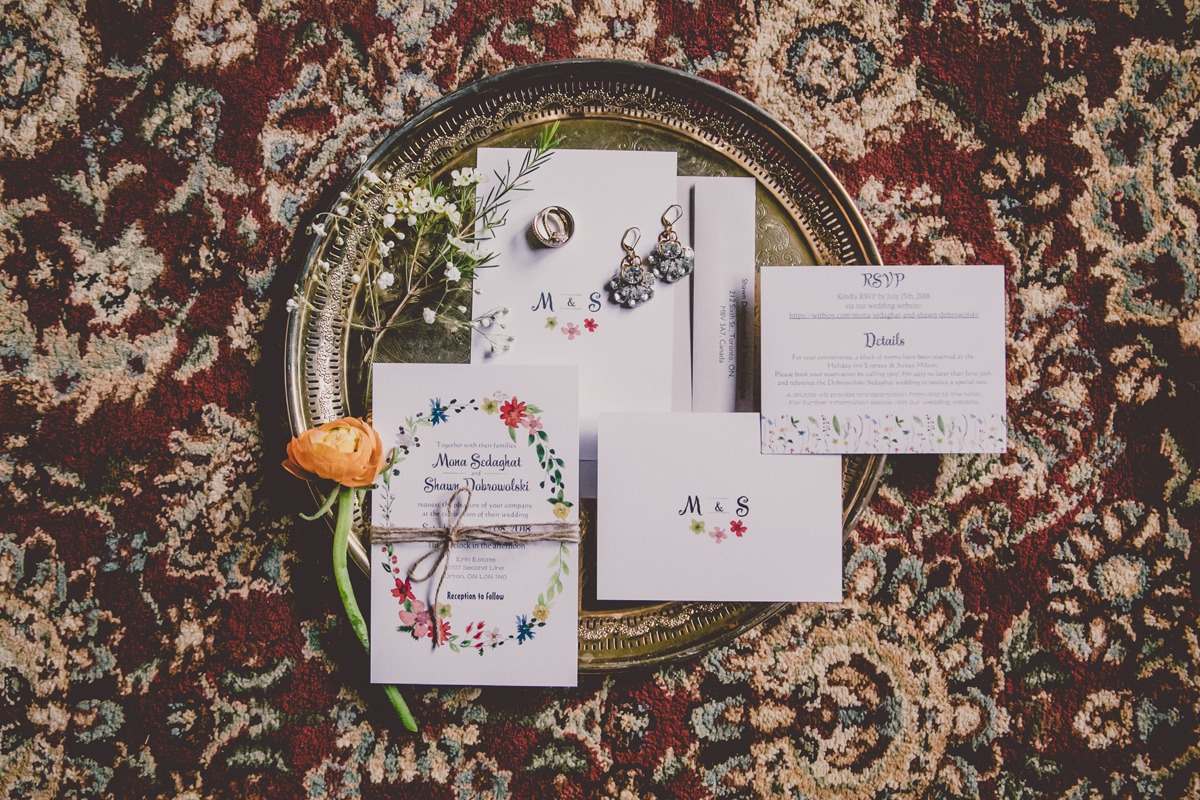 wild flower inspired wedding invitation suite