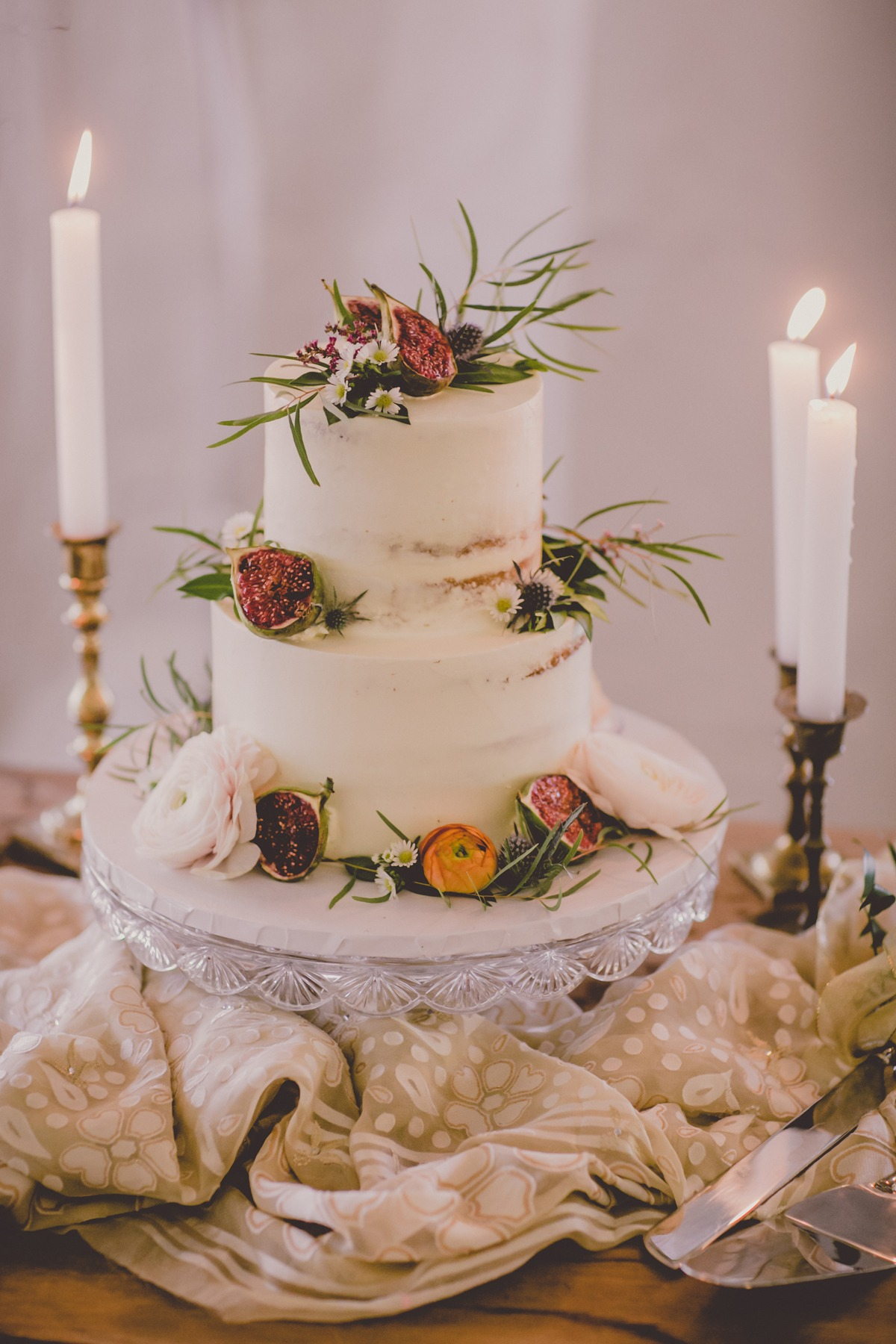 fig topped wedding cake