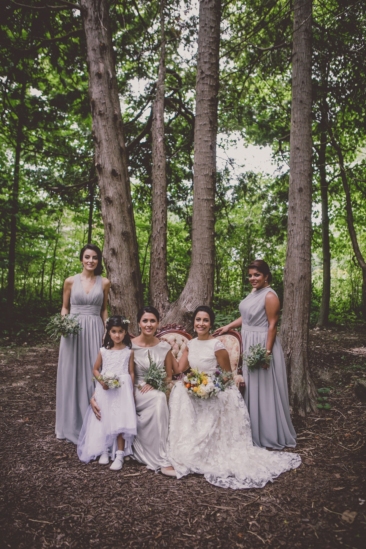 bridal party in grey and silver
