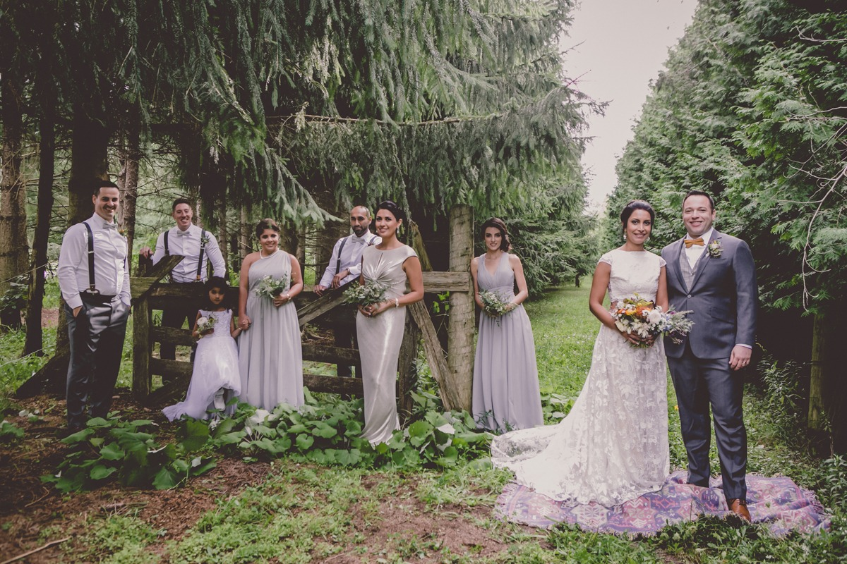 wedding party in silver and grey