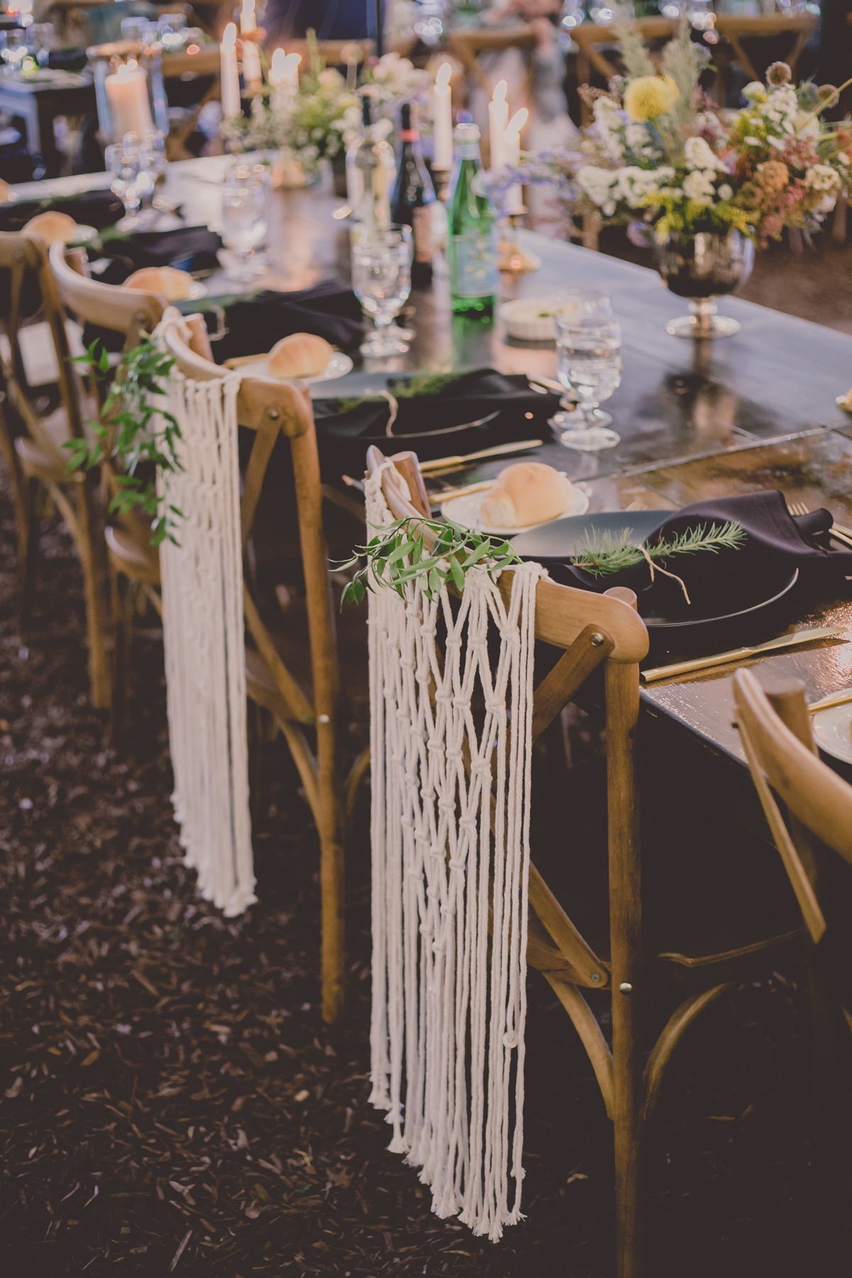 macrame wedding seat decor