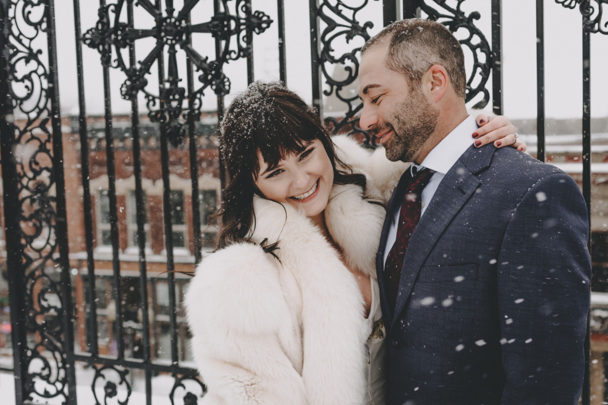 sweet wedding couple in the snow