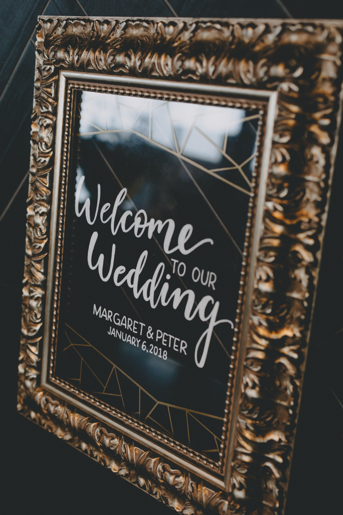 glam framed wedding sign