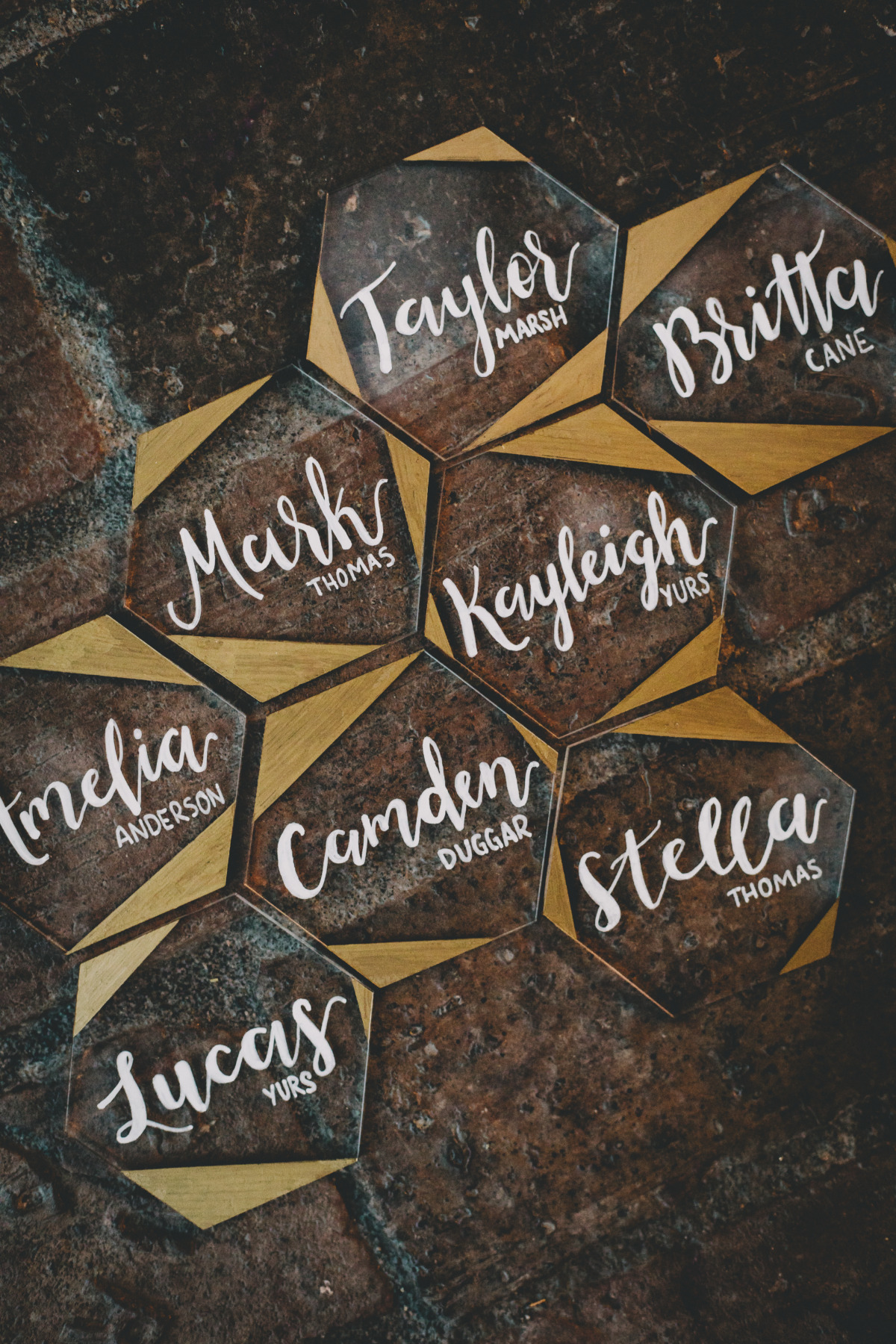 modern glass place cards