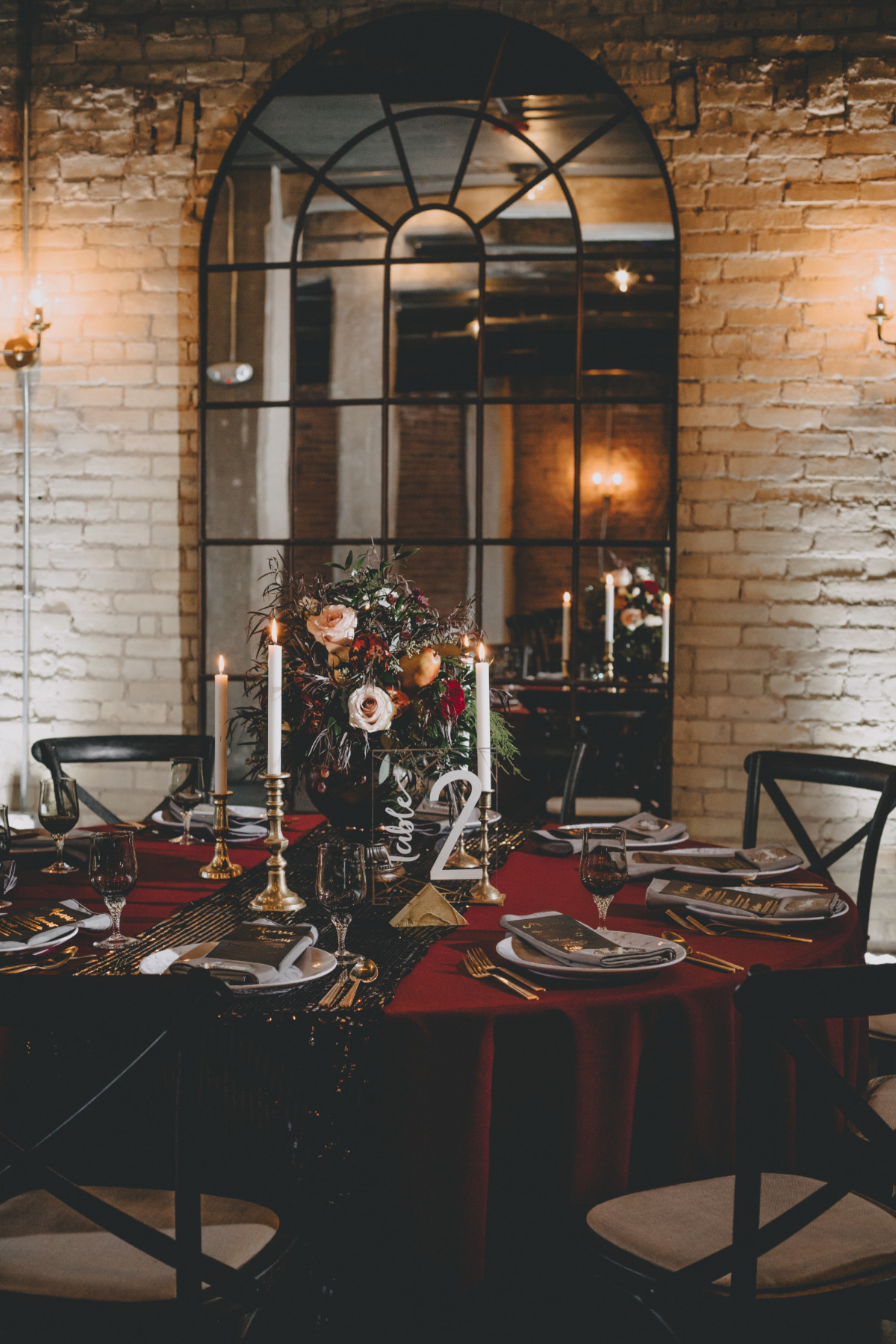 black gold and red wedding table decor for your winter wedding