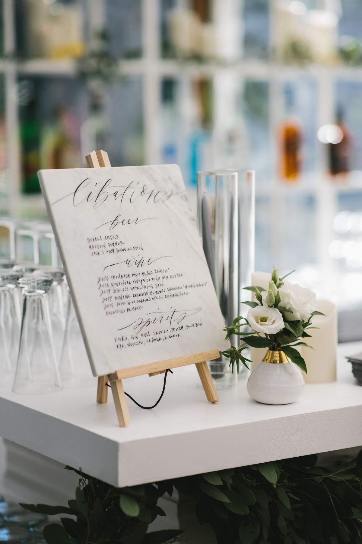 marble wedding menu