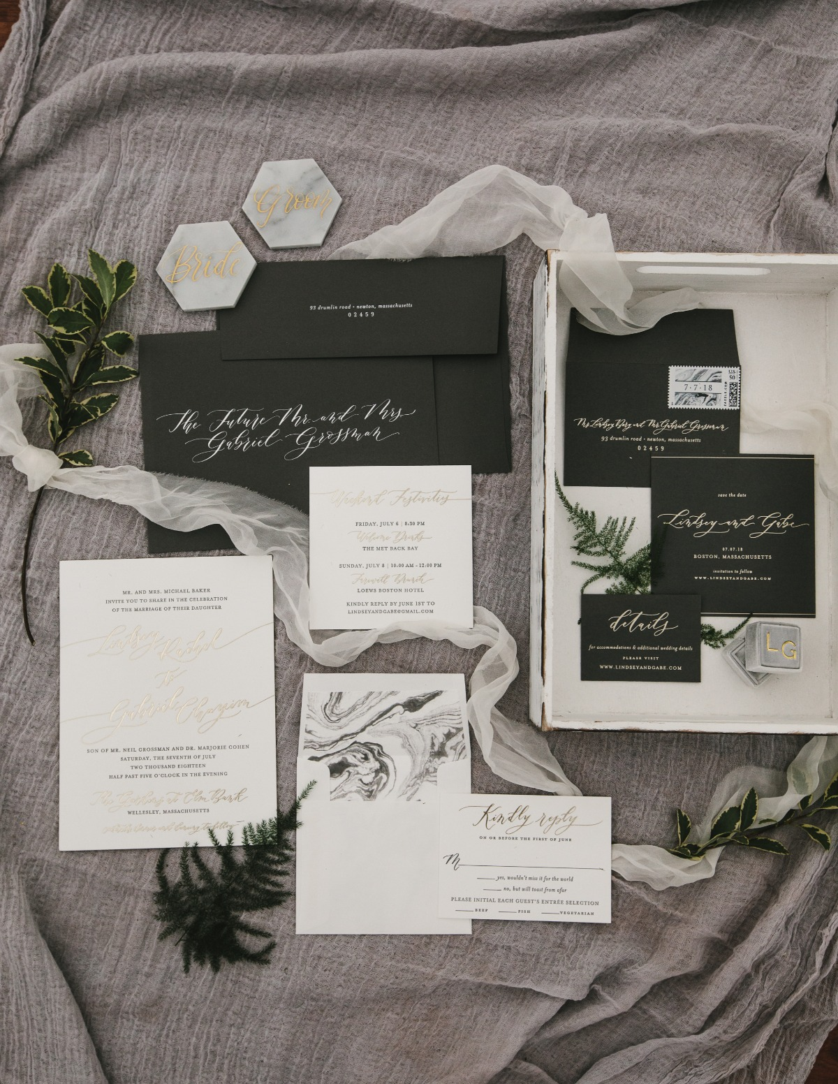elegant and marble accented wedding invitation suite