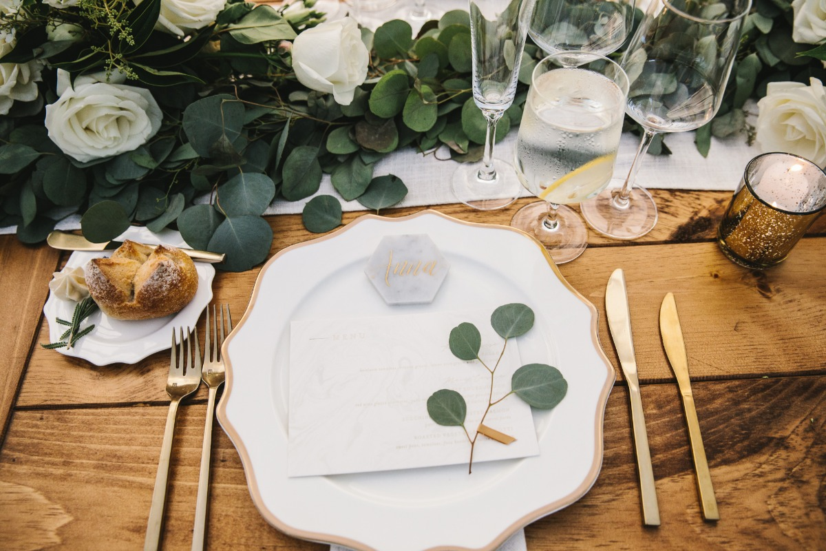 chic gold and white and marble place setting