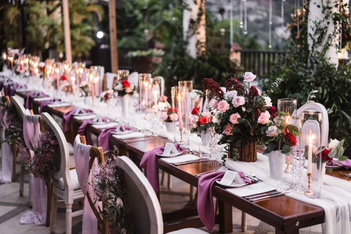 purple and pink wedding reception table