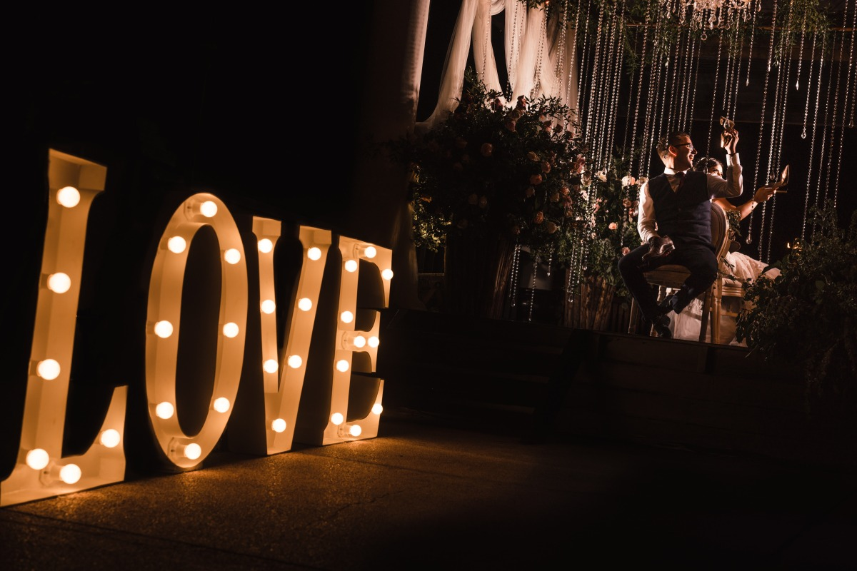 glowing love marquee sign