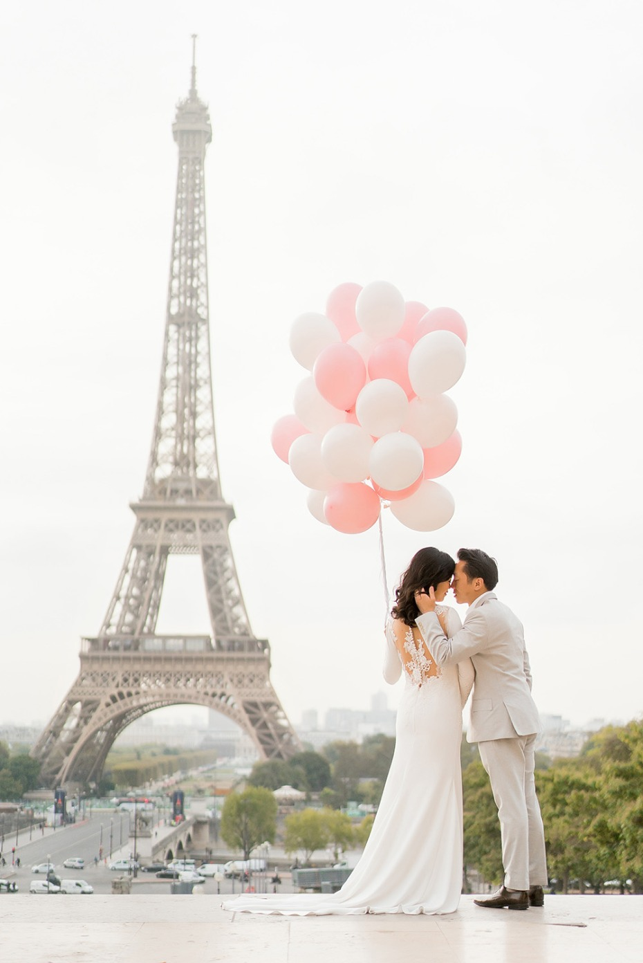 Paris Eiffel Tower Wedding Portrait