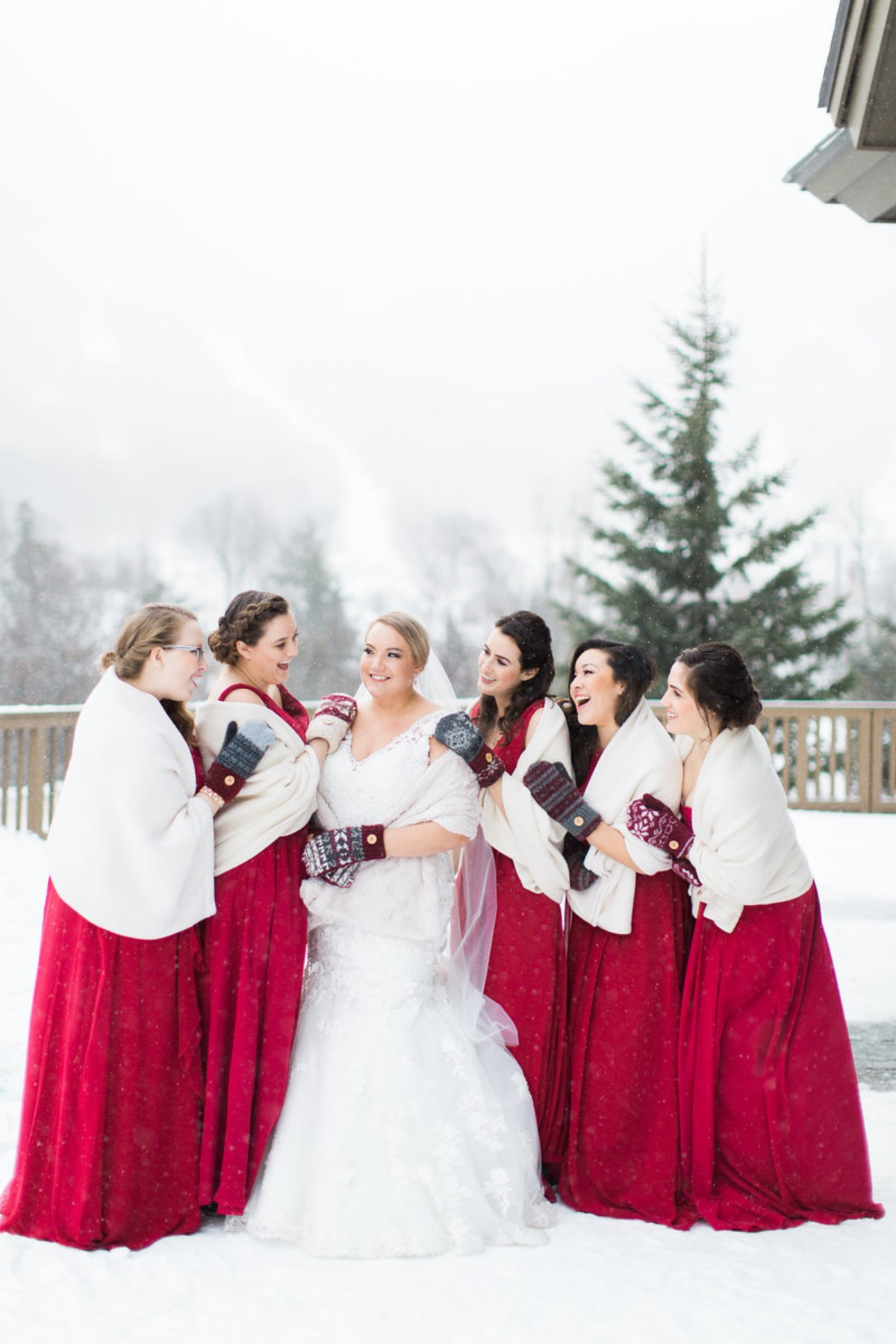Winter bridesmaid look with mittens