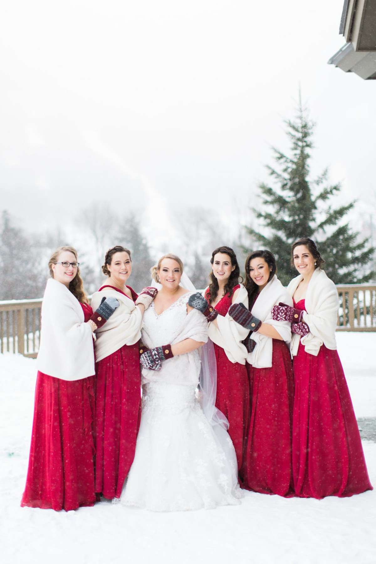 Winter bridesmaids with mittens