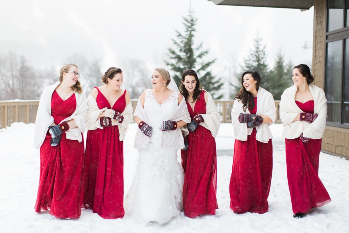 Winter bridesmaids in red