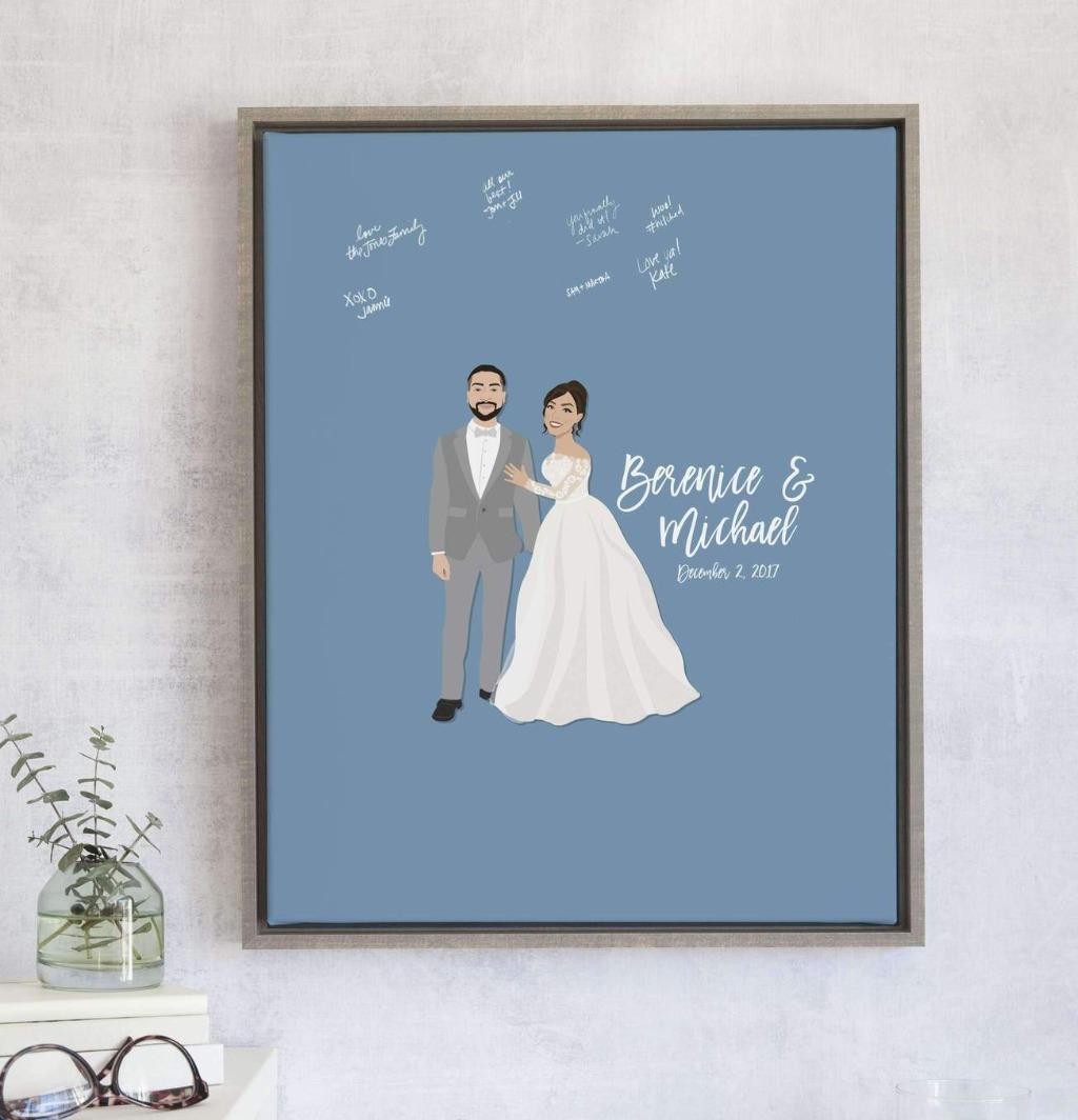 This super cute Wedding Portrait Guest Book Alternative with Custom Colored Background from Miss Design Berry is a twist on our best