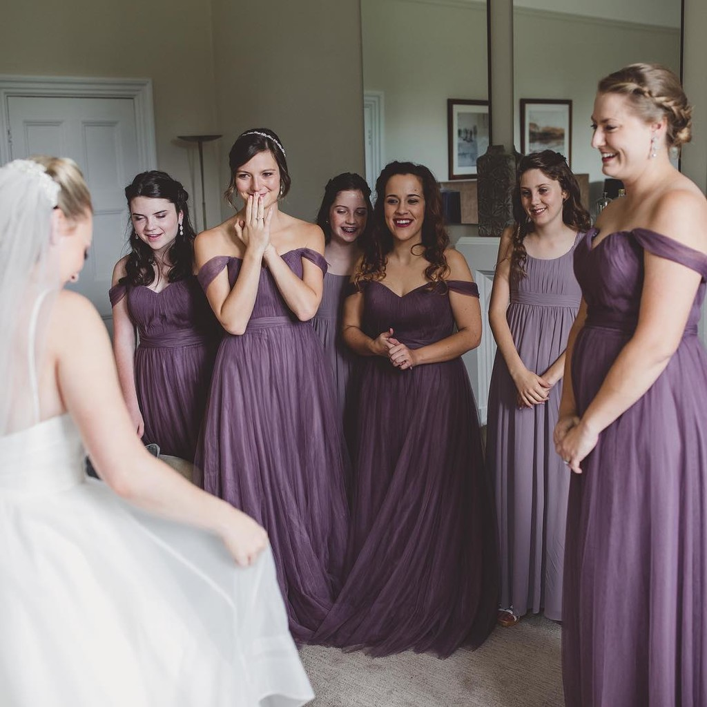 """I loved the romantic off the shoulder look and the tulle photographed beautifully. I chose Lavender because the purple I saw in"