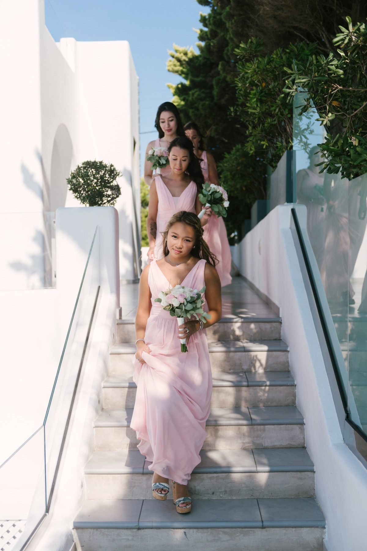 Bridesmaids in blush