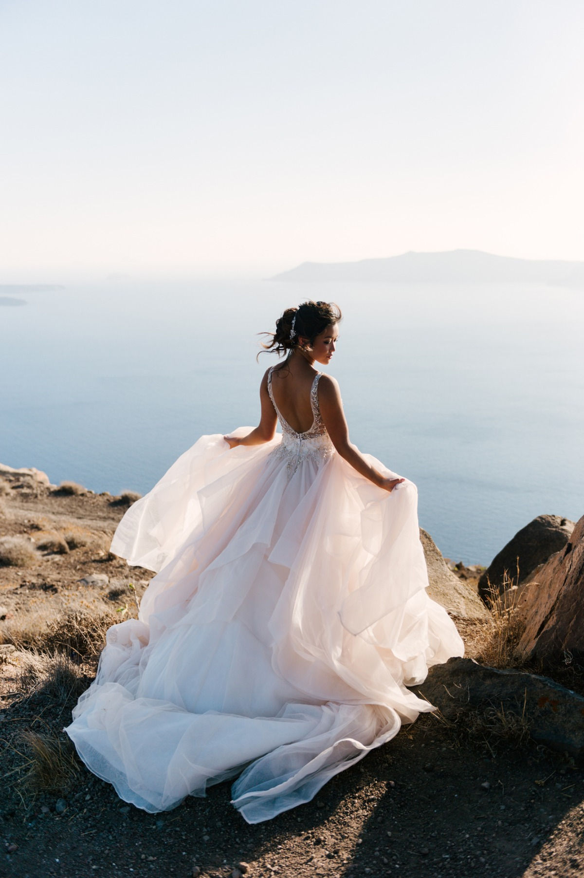Bridal portrait in Santorini