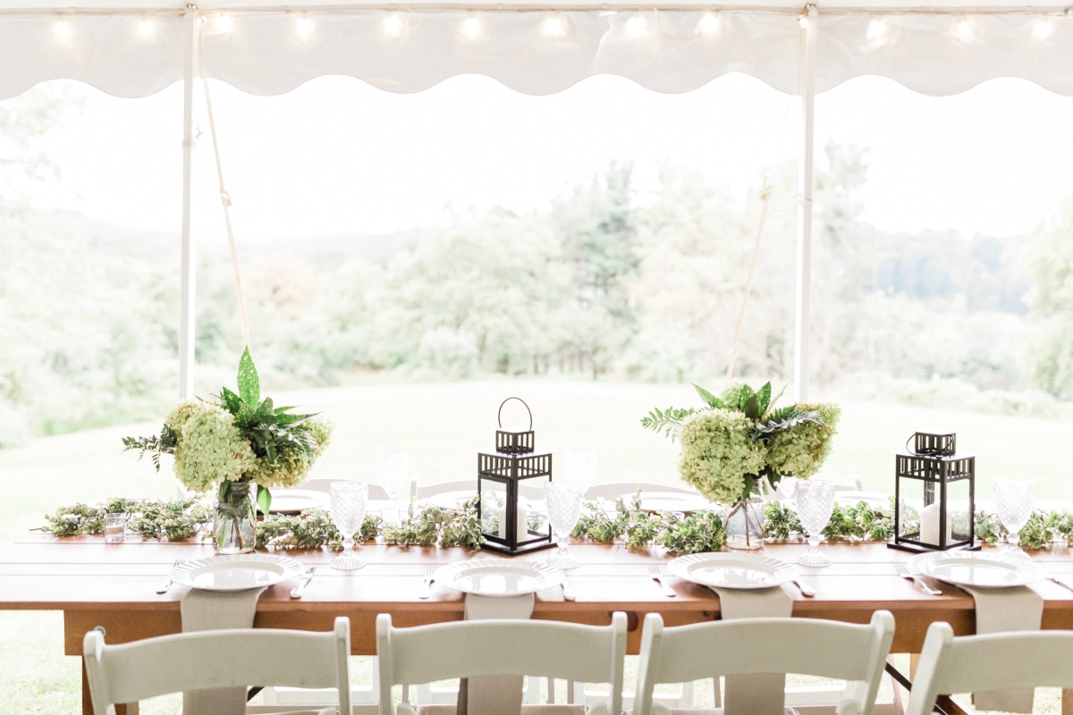 greenery and hydrangea and lantern table decor