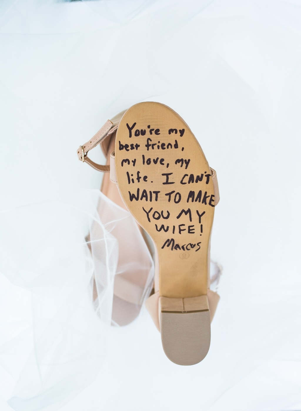 I LOVE this idea of writing a note on the brides shoes, so she can see it before she uses those shoes to walk down the aisle to her