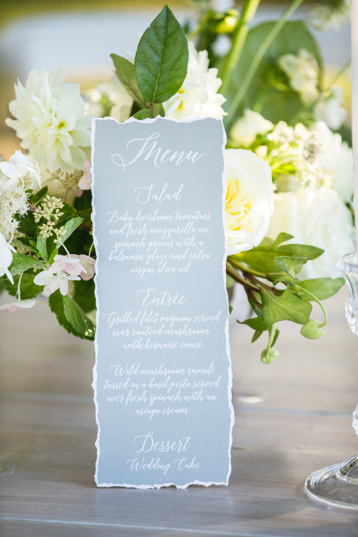 grey wedding menu