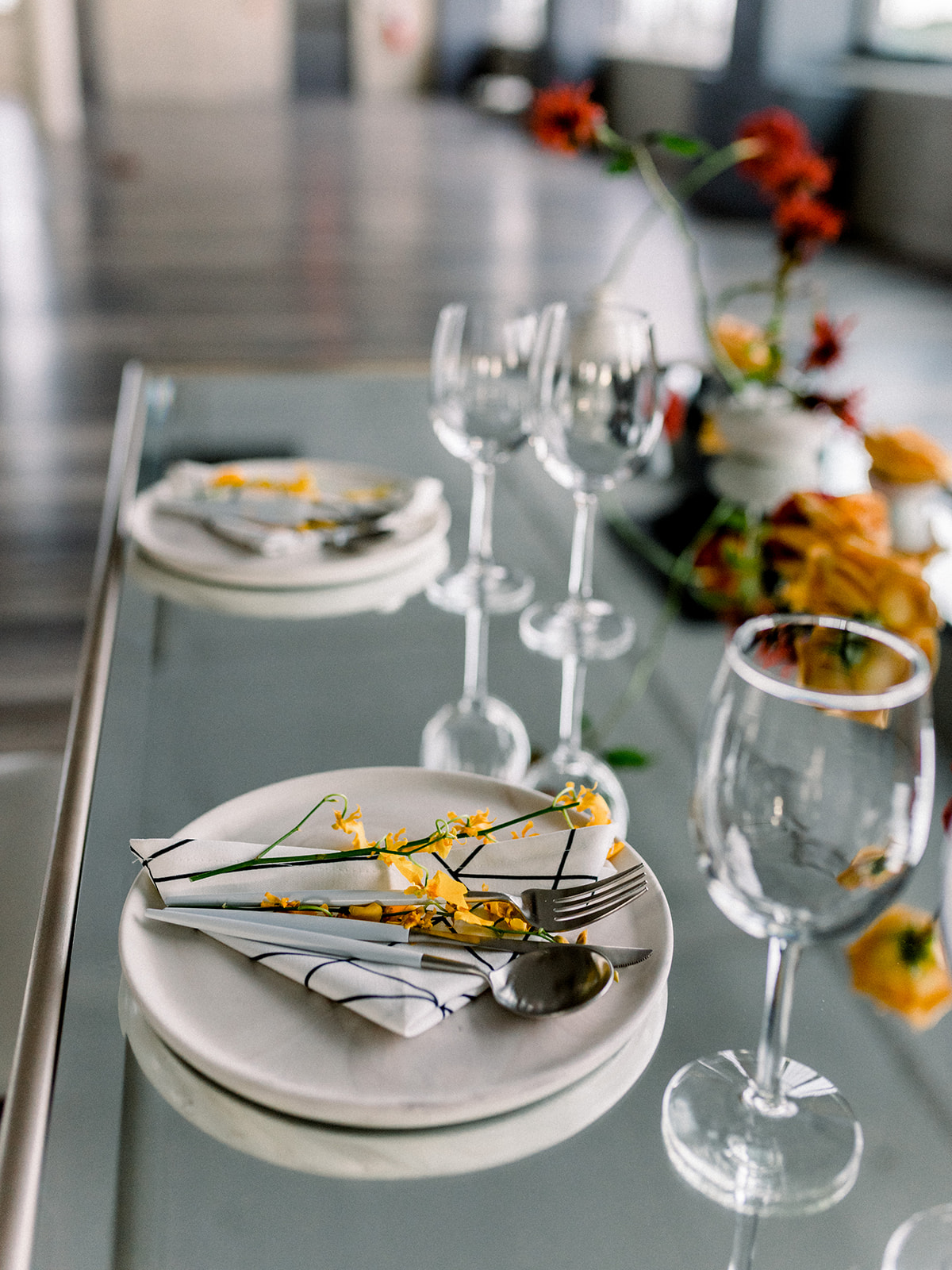 modern grey white and yellow place setting