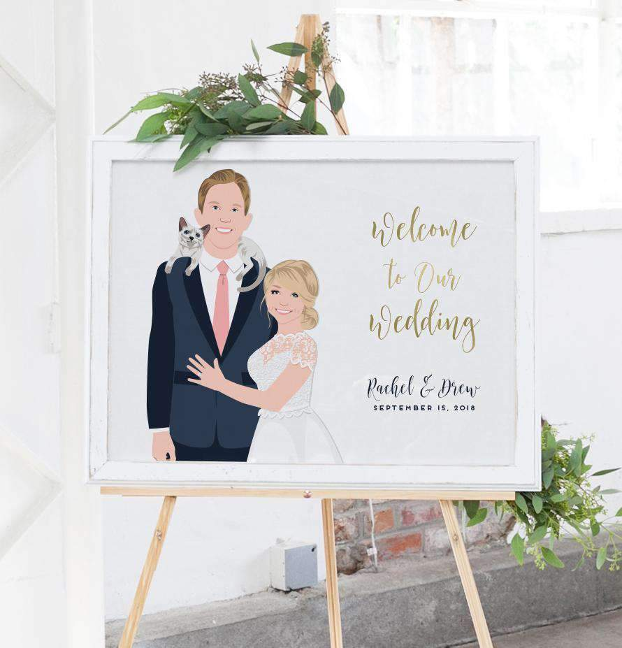 This wonderful Modern Wedding Welcome Sign with Couple Portrait from Miss Design Berry is perfect if you'd like your portrait added