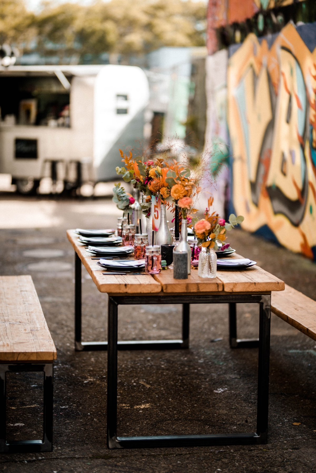 Color filled reception table