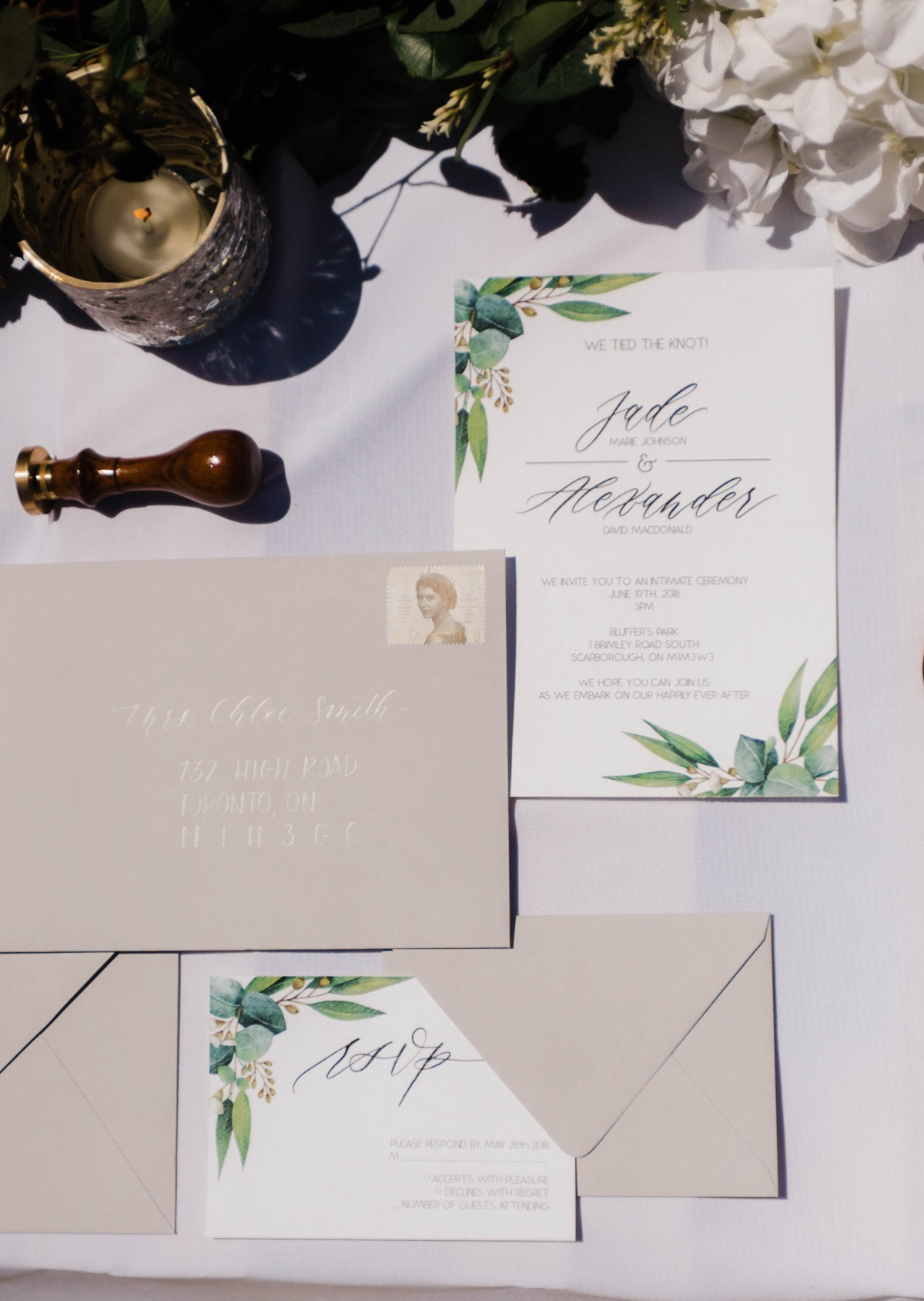 greenery inspired wedding invitation suite