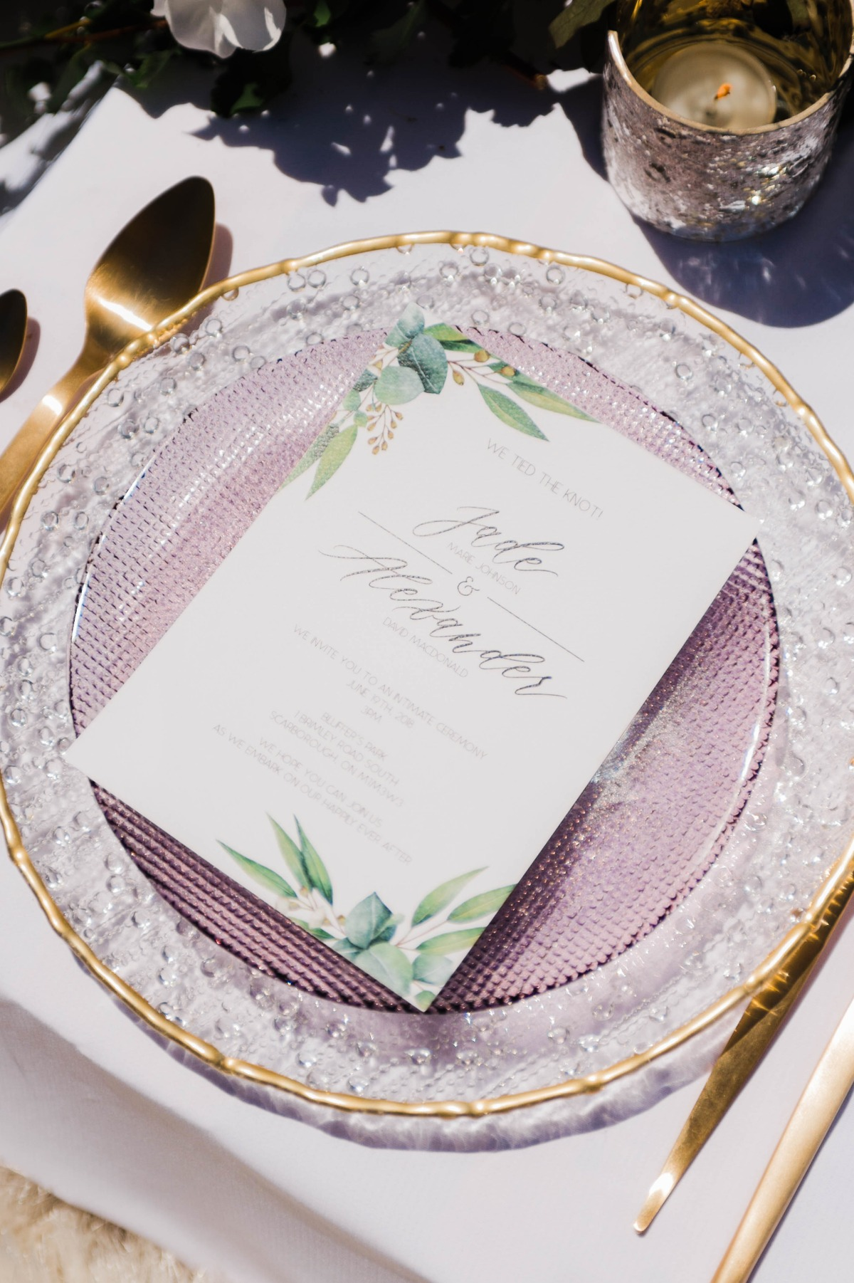 gold lavender and greenery wedding place setting