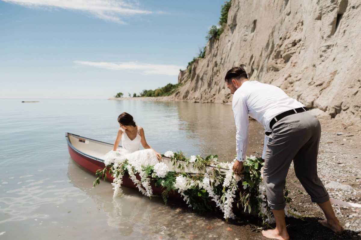 floral draped wedding canoe
