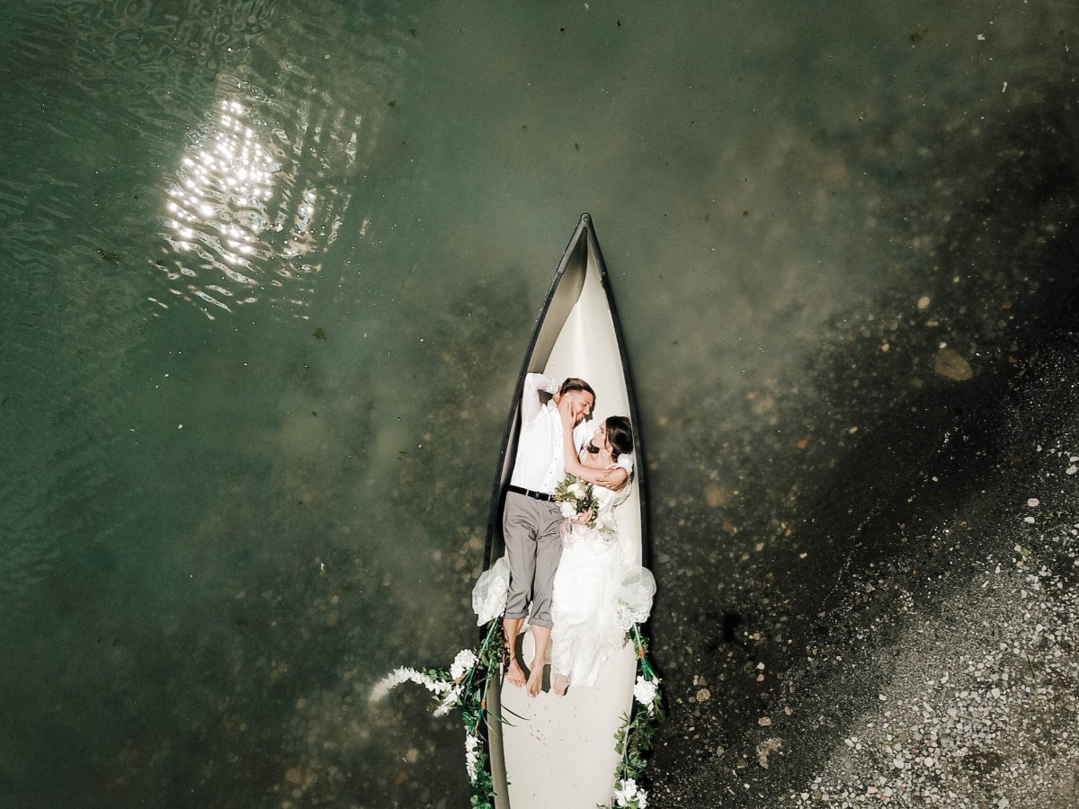 sweet canoe wedding photo idea
