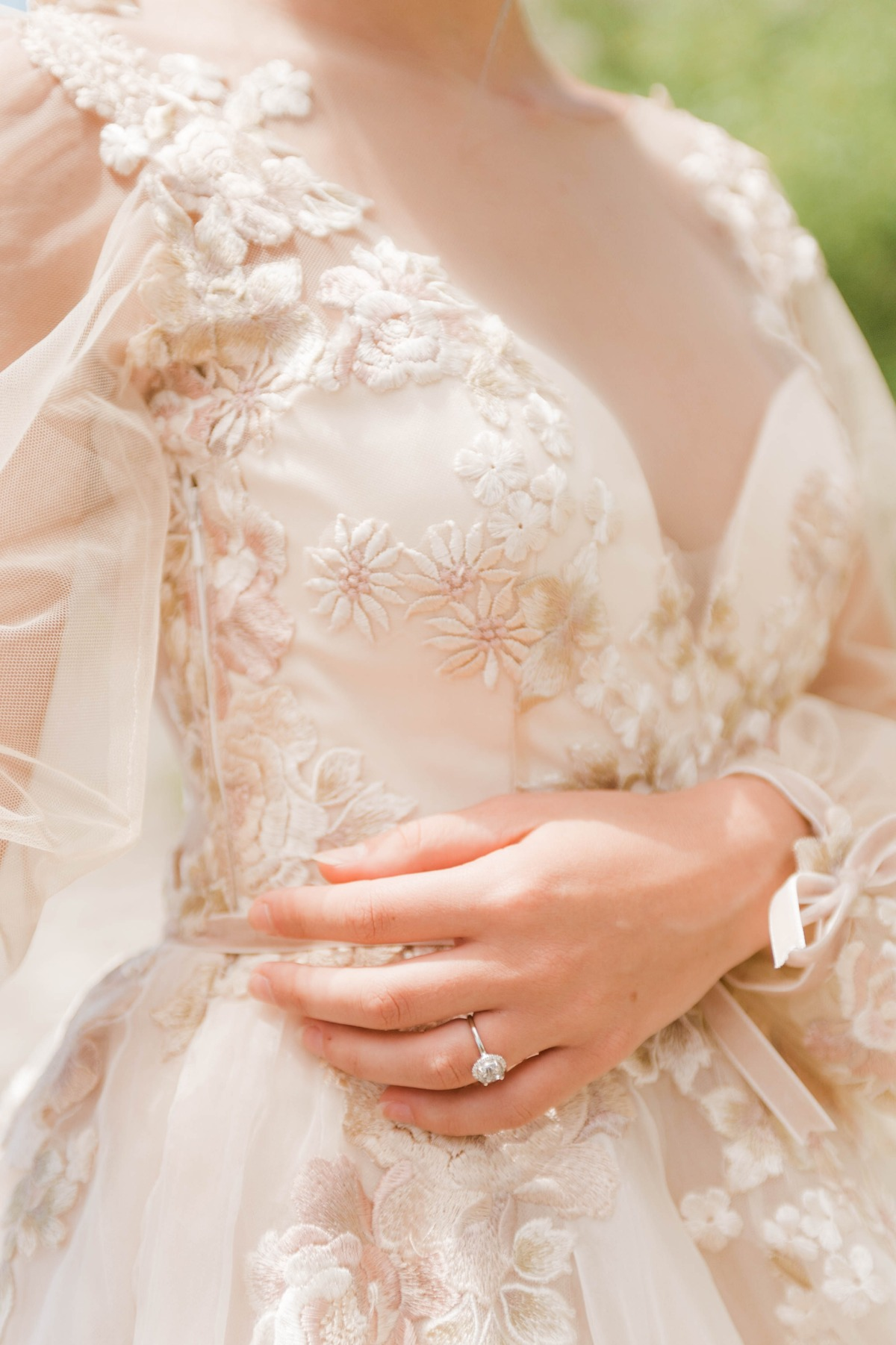 floral applique wedding dress details