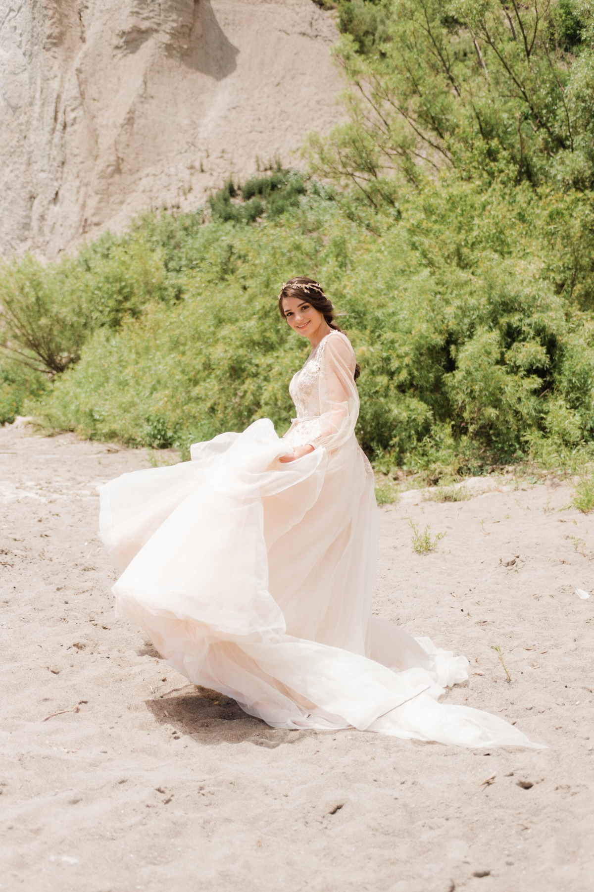 flowy beach wedding dress idea