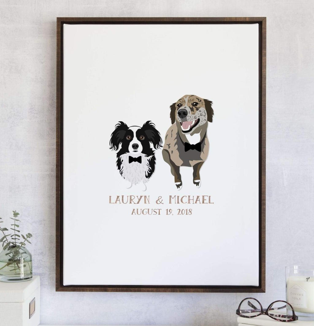 This Wedding Guest Book Alternative with Pet Portraits from Miss Design Berry is the perfect way to include your pets in the celebration