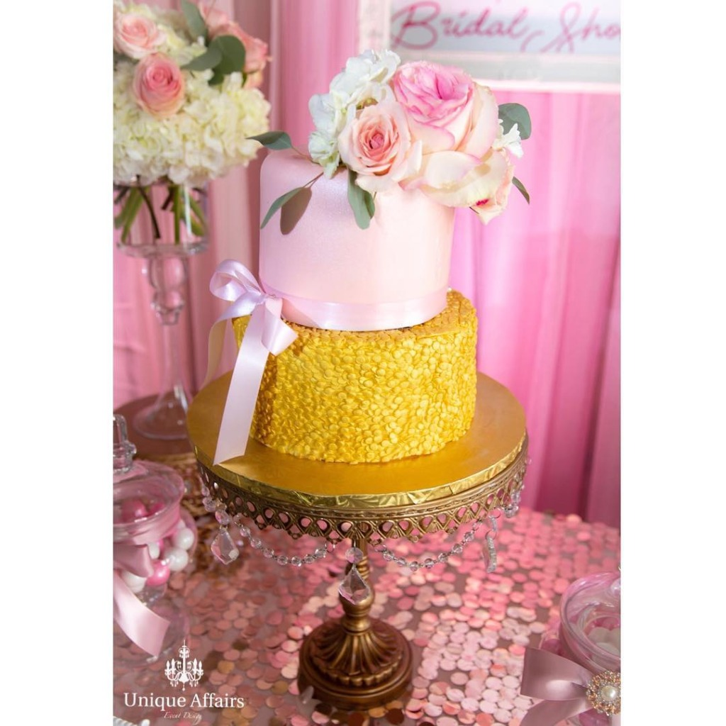 Add some sparkle to your bridal shower cake table with Opulent Treasures cake stands!