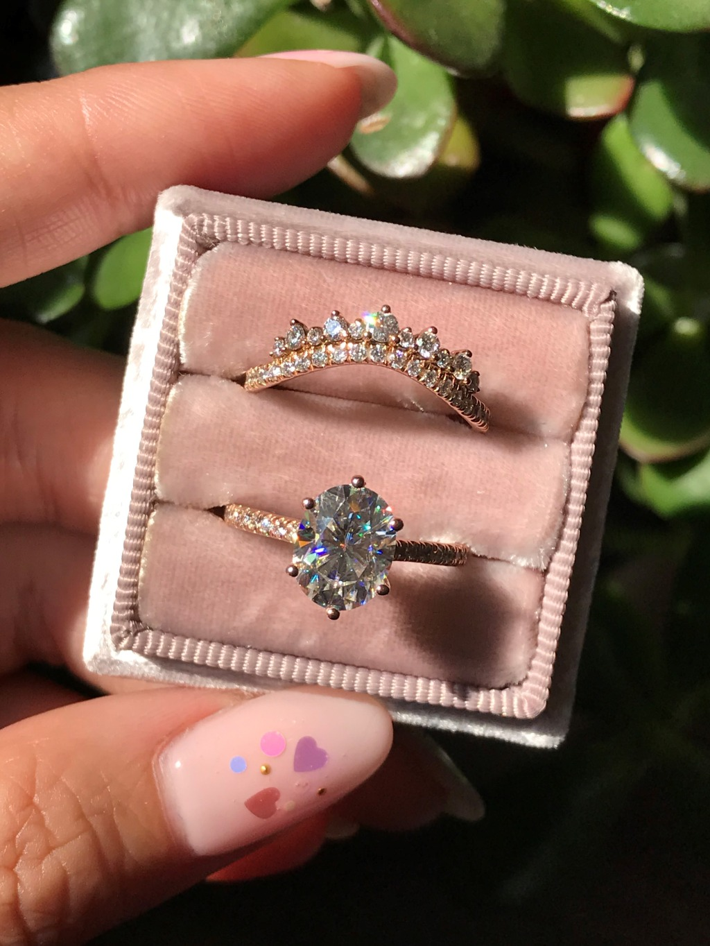 Beautiful Grace Solitaire Engagement Ring with Oval Moissanite in Pave Diamond Band paired with a Crown Diamond Wedding Ring ~ See