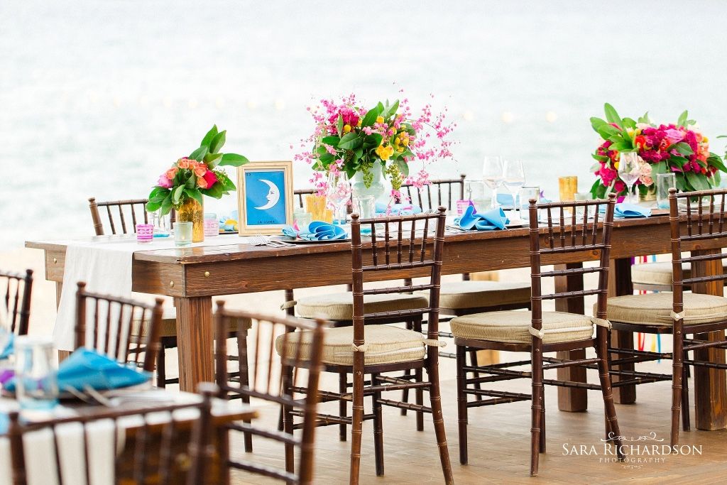 Colorful beach decoration for a fun Cabo Wedding