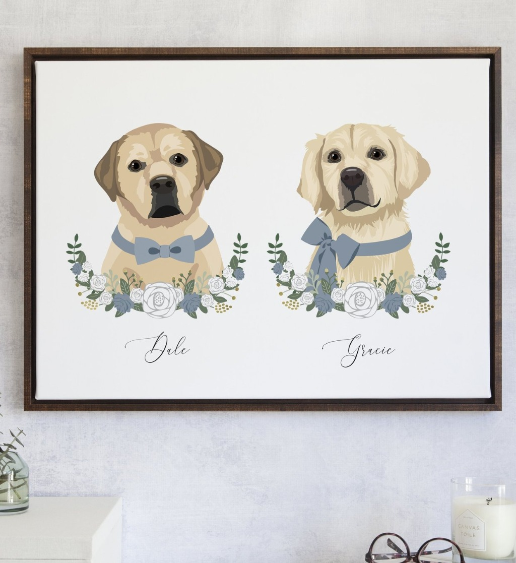 This beautiful Custom Pet Portrait Artwork featuring Two Pets from Miss Design Berry is the perfect gift for the pet lover in your